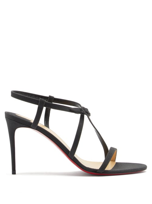 Christian Louboutin - Selima 85 Glittered-leather Sandals - Womens - Black