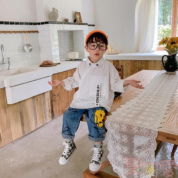 兒童韓版洋氣秋裝上衣純棉男童長袖襯衫寶寶襯衣【聚可愛】