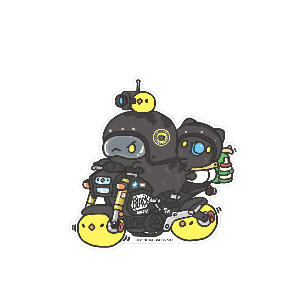 [貓貓蟲-咖波] 黑貓蟲兄弟兜風去 防水防曬貼紙