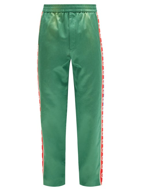 Gucci - GG Side-stripe Cotton-blend Track Pants - Mens - Green