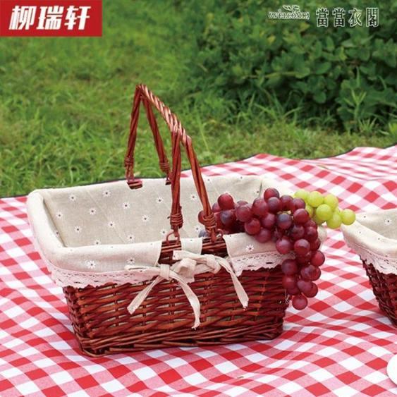 柳編購物籃雞蛋籃禮品籃子水果籃廚房收納筐野餐籃