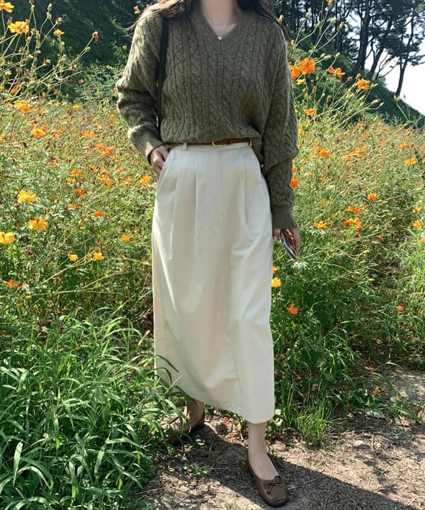 韓國空運 - Miller Pintuck Cotton Skirt-Cream Beige M 裙子