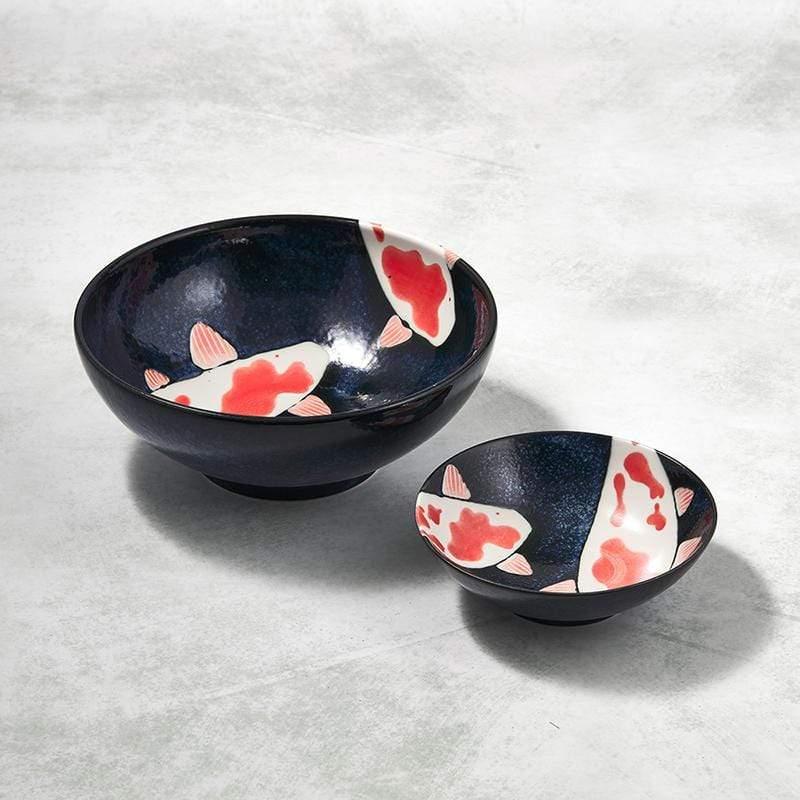 日本美濃燒 - 彩鯉釉染 - 錦上添花雙件組