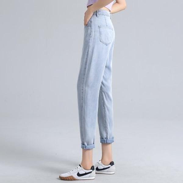 韓版牛仔褲九分褲S-XL新款薄款天絲牛仔褲女高腰直筒冰絲小個子寬鬆老爹褲MA058-7454.1號公館