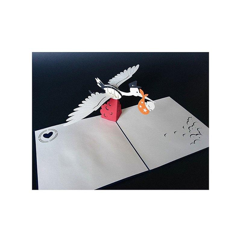 日本 Pop-up 紙雕3D立體卡片 送子鳥