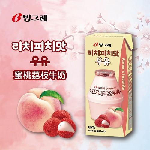 【韓味不二】Binggrae 蜜桃荔枝牛奶 200ml x 24入 (2021.09.21)