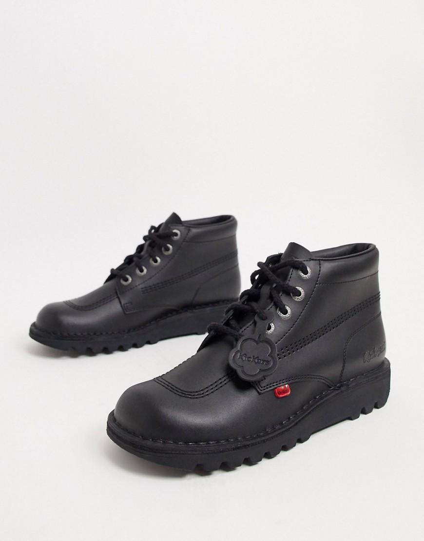 Kickers kick hi boots in black leather