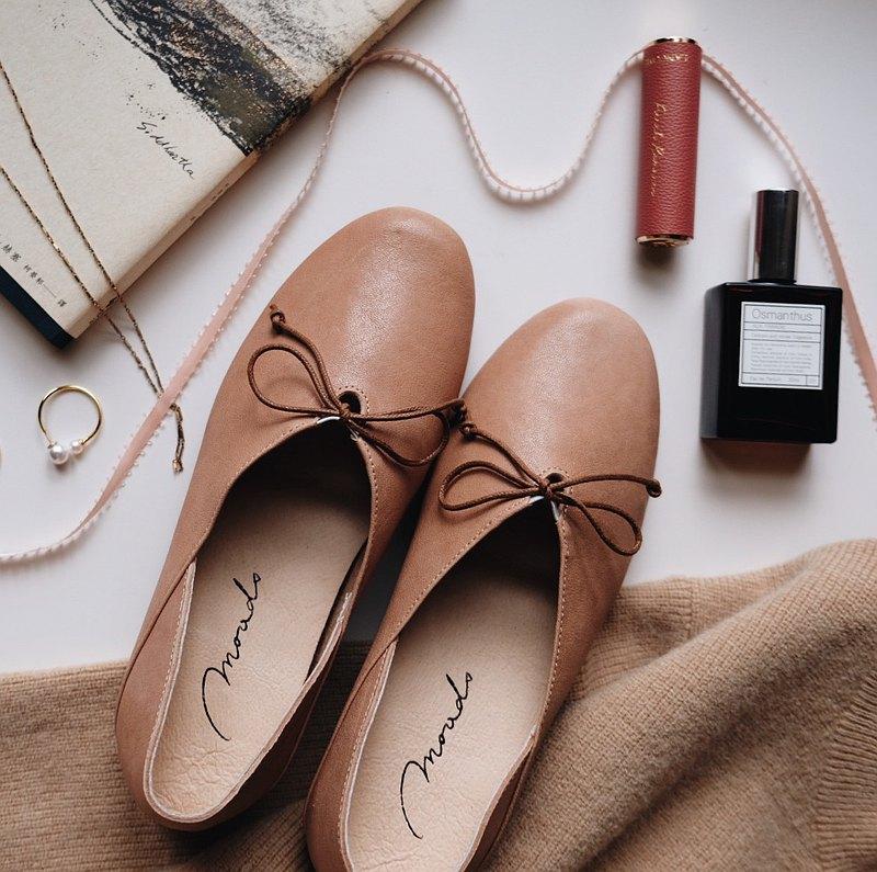 奶茶。頂級義大利小羊皮法式娃娃鞋 真皮女鞋 平底休閒鞋 MIT