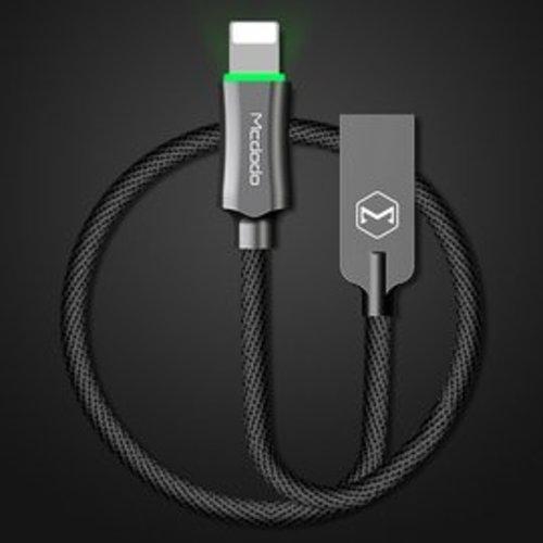 MCDODO騎士系列 蘋果智能斷電120公分充電線 lightning發光數據線充電線 防止過充 自動補電 1.2米