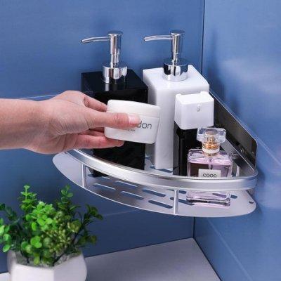 浴室置物架衛生間太空鋁免打孔置物架墻面壁掛式洗手間三角收納架  一葷一素