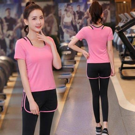 三件套夏季瑜伽服套裝女2019新款專業運動跑步健身房初學者速乾珈 新年促銷