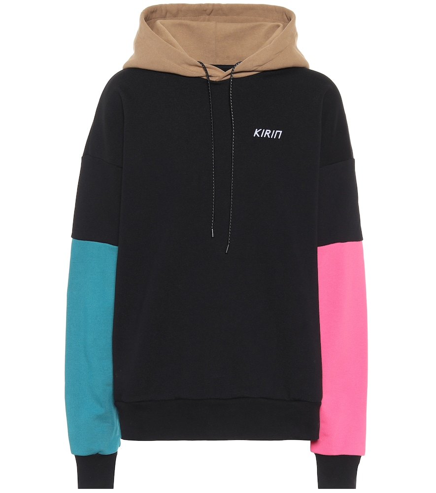 Colorblocked cotton hoodie