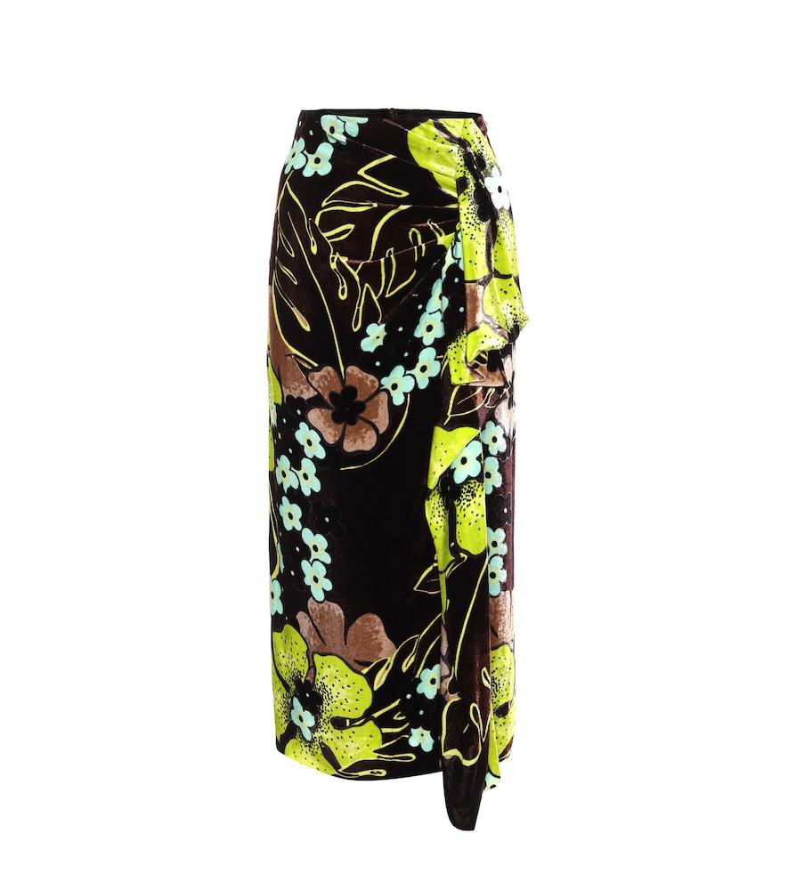 Floral high-rise velvet midi skirt