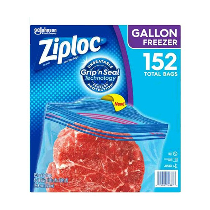 Ziploc 雙層夾鏈冷凍保鮮袋-大 152入(兩入裝) COSCO代購 W921279