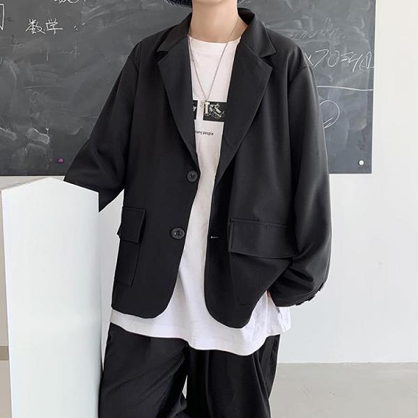 西裝外套男 小西服男休閒潮流韓版寬鬆bf網紅潮牌痞帥上衣青少年秋季西裝外套