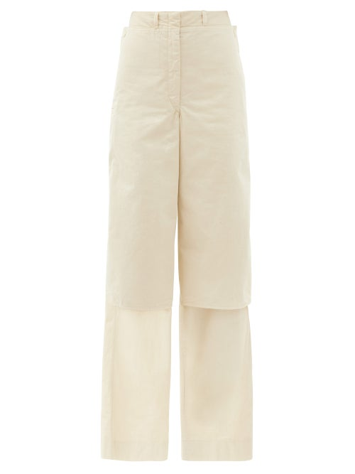 Lemaire - High-rise Layered Cotton Wide-leg Trousers - Womens - Cream