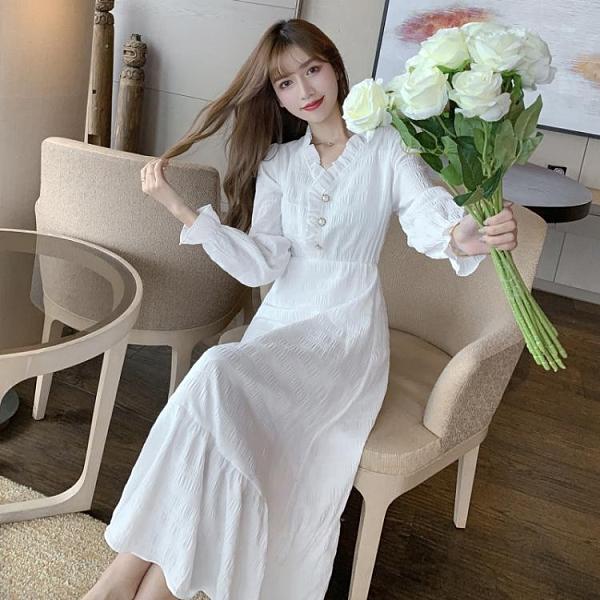 長袖洋裝 白色長袖連身裙春秋裙子仙女超仙森繫仙氣長裙氣質長款顯瘦溫柔風 韓國時尚週