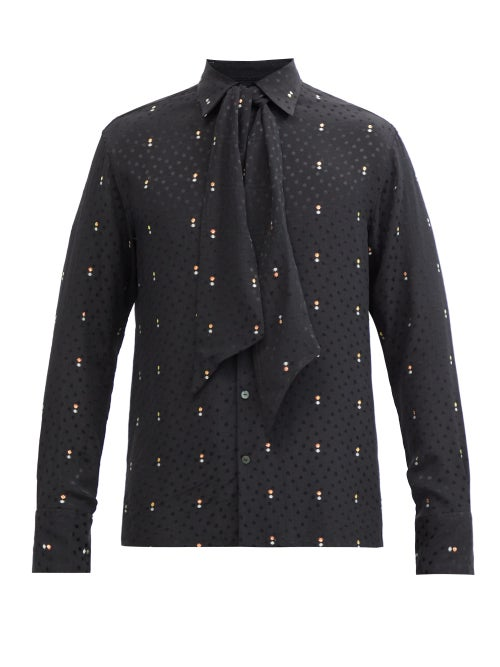 73 London - Metallic And Polka Dot Self-tie Silk-blend Shirt - Mens - Black Multi