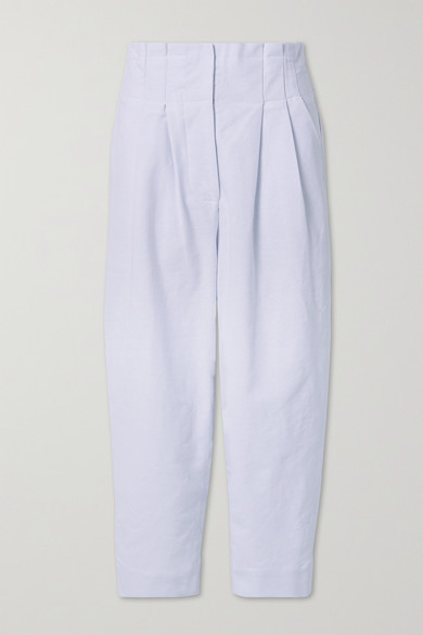 Rue Mariscal - 褶裥纯棉帆布窄腿裤 - 白色 - FR34