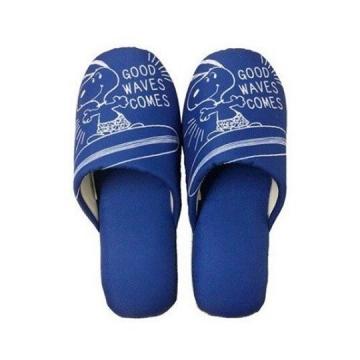 史努比 室內拖鞋 保暖拖鞋 成人拖鞋 棉質 半包式 (藍 衝浪)