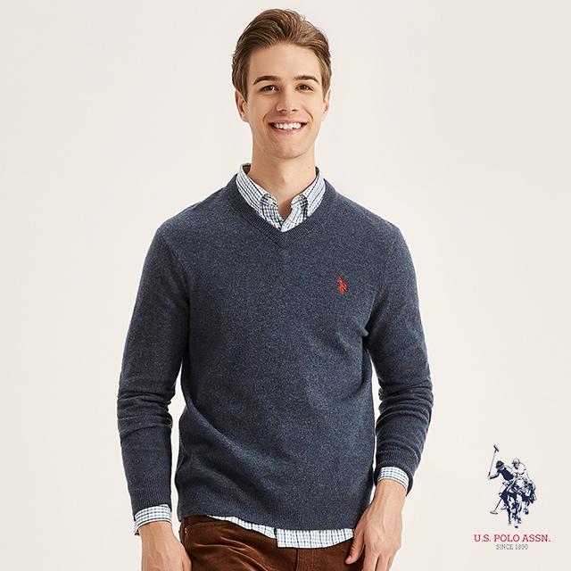 U.S. POLO ASSN. V領羊毛衫 (海藍色)