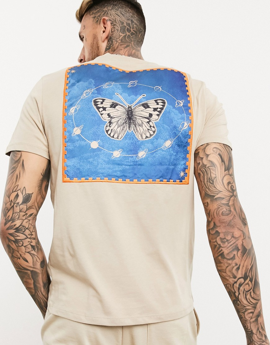 ASOS DESIGN t-shirt with large back butterfly patch print and embroidery in beige-Neutral