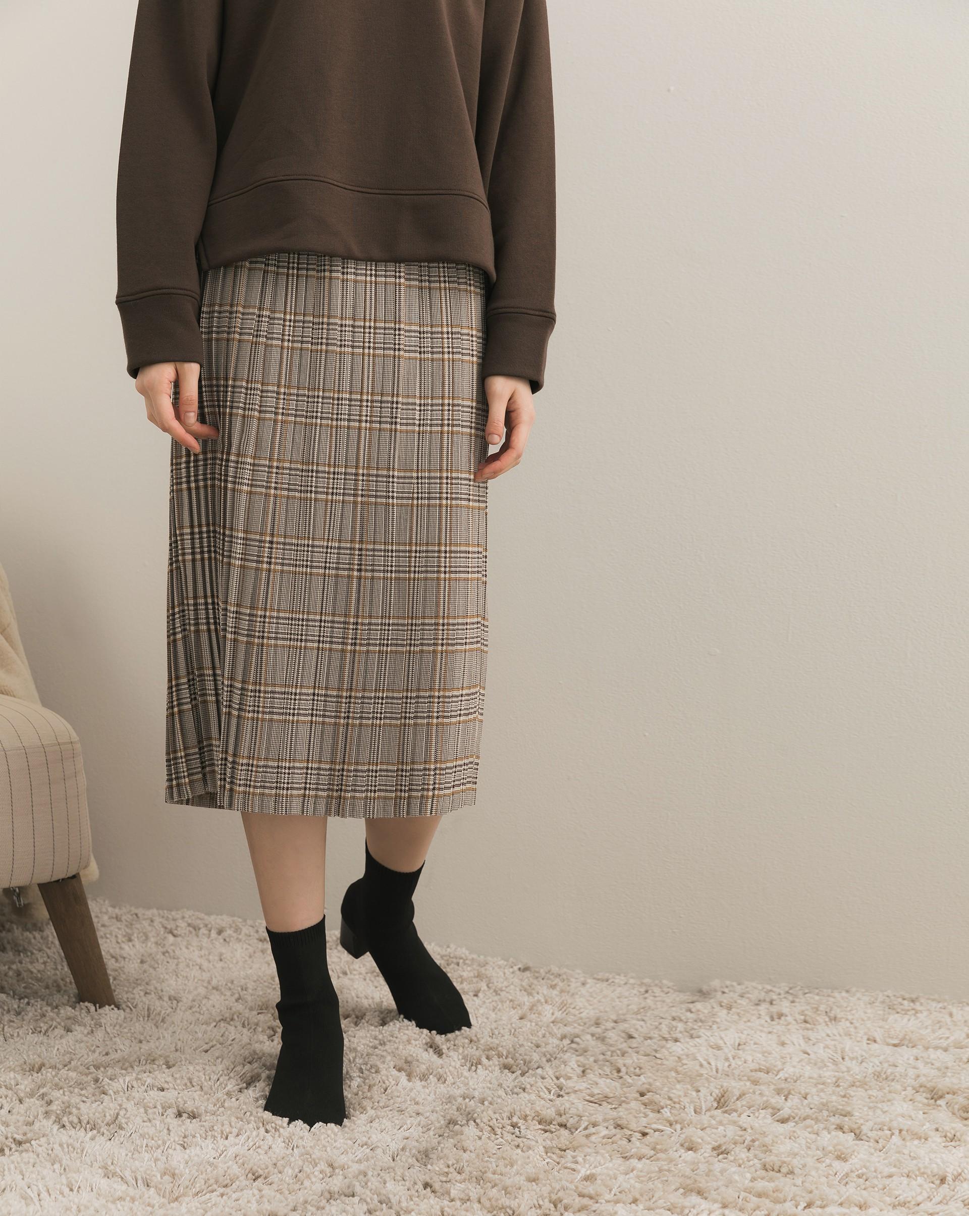 毛呢感格紋百褶中裙-Meierq