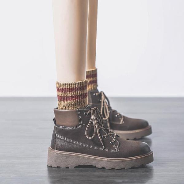 馬丁靴 單靴年秋季百搭馬丁靴女ins潮酷加絨厚底短靴英倫風 阿宅便利店