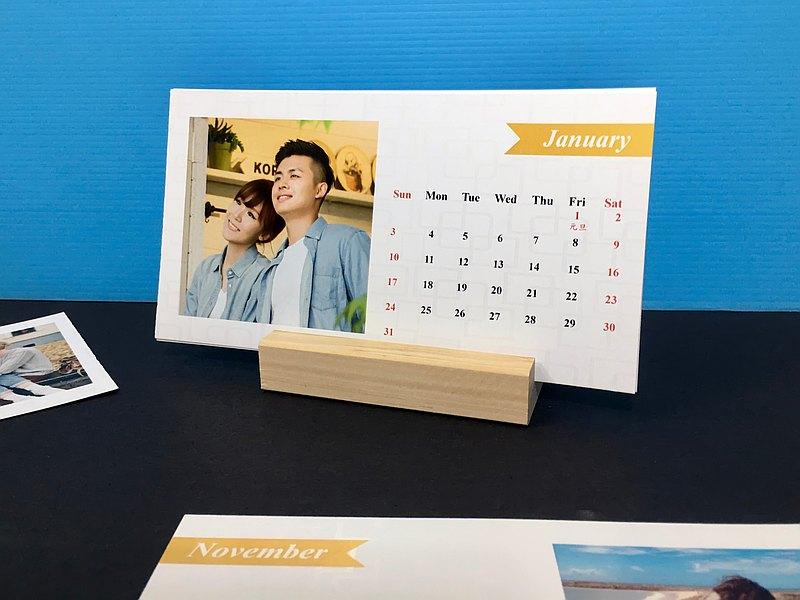 【情人禮物】2021桌曆卡(卡片雙面印製6張)(木座1)【生日禮物】