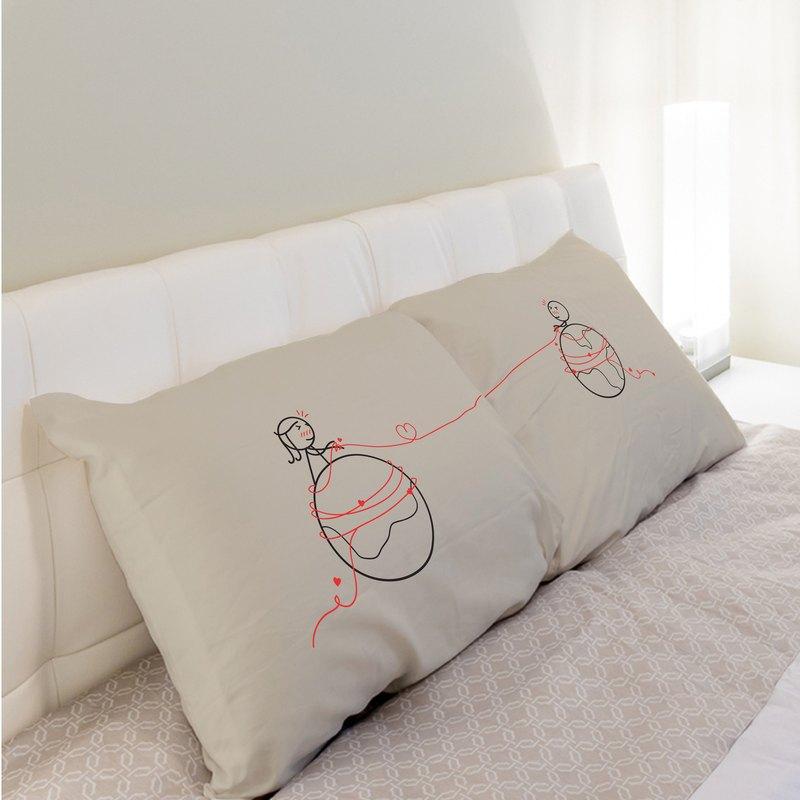 火星與金星 對枕枕頭套組 男孩遇見女孩系列 白/藍/卡其