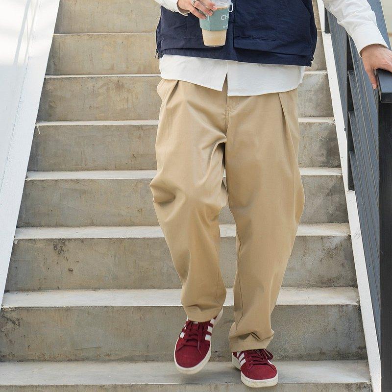 Chino Pants 單褶微錐型褲 日系純色休閒純棉斜紋休閒卡其長褲