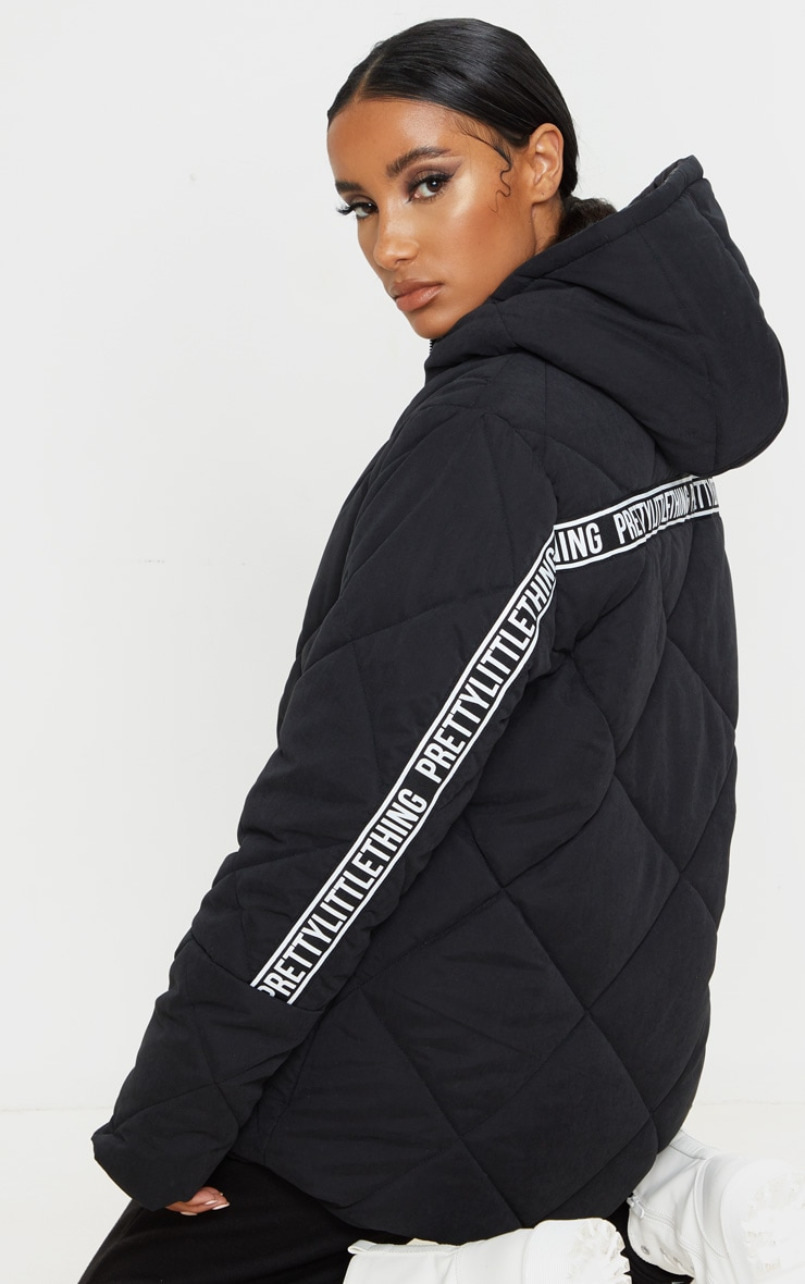 PRETTYLITTLETHING Black Peach Skin Diamond Quilted Oversized Puffer