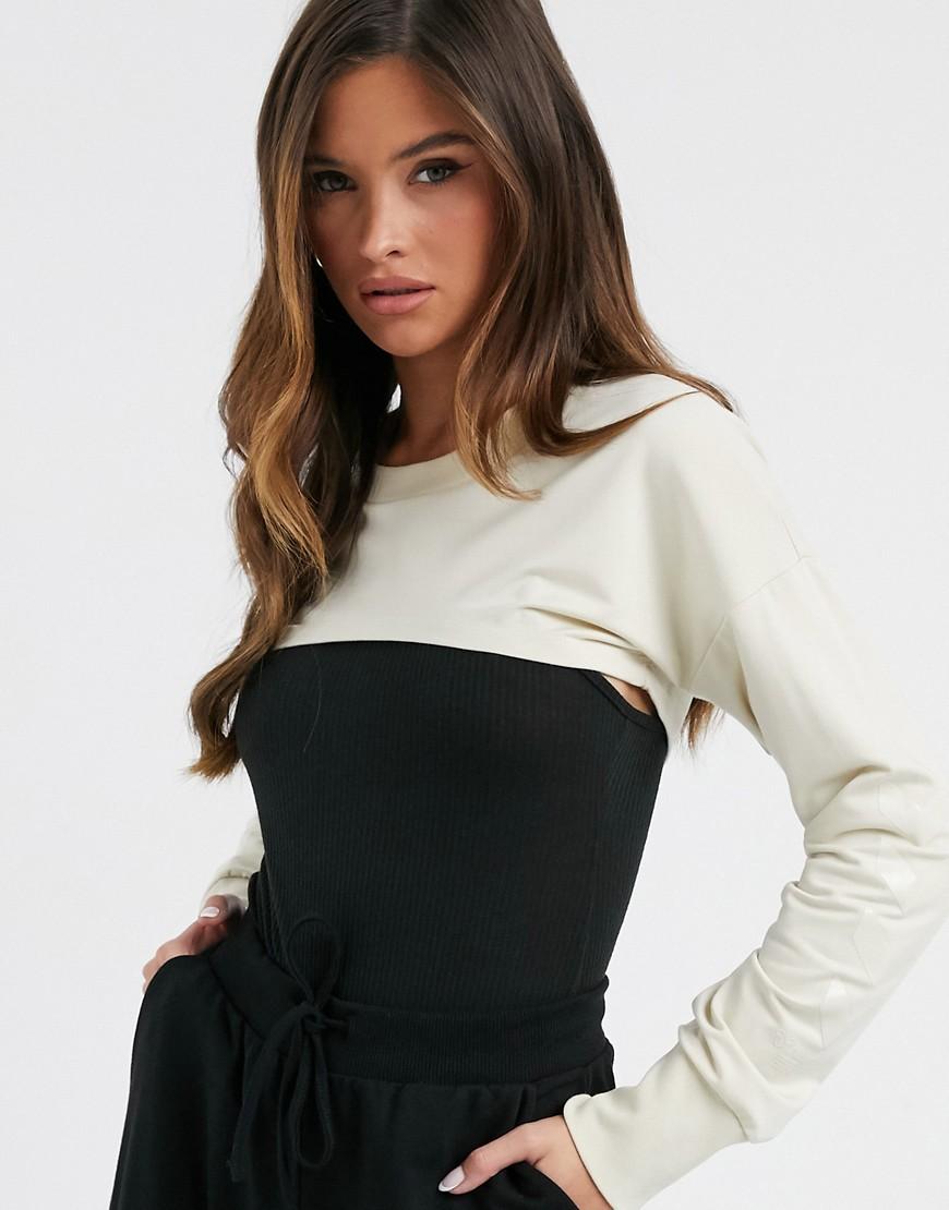 Hummel super cropped sweatshirt in cream-White