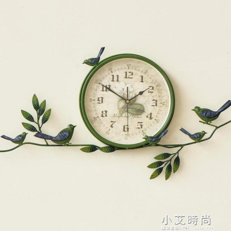 田園鐘表小鳥掛鐘創意靜音鐘表客廳美式時鐘現代家用裝飾掛表餐廳 新年禮物