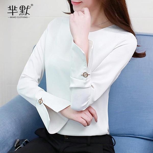 (促銷全場九折)雪紡衫女春裝新款長袖韓版喇叭袖襯衫純色超仙上衣氣質小衫
