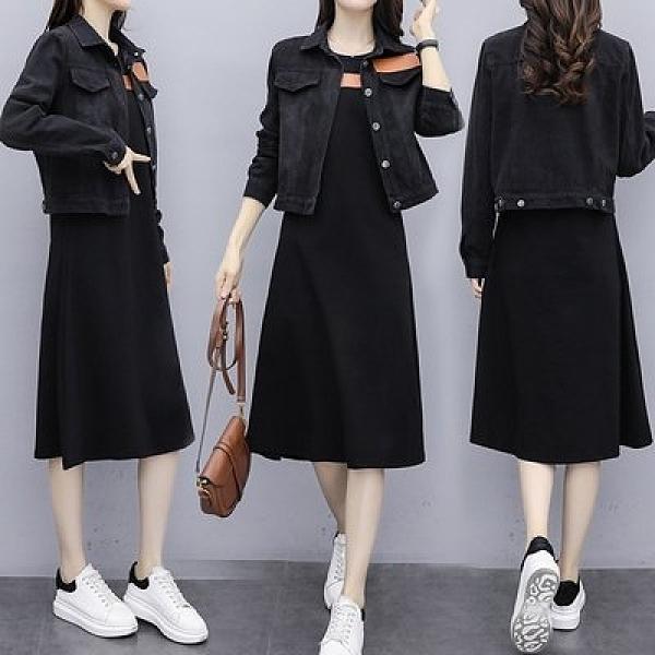 二件式外套連身裙中大尺碼XL-5XL秋季大碼女裝新款韓版牛仔小外套吊帶連身裙兩件套4F096-1161.