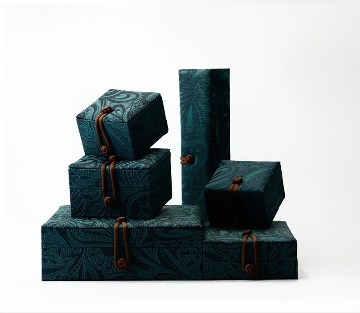 【快速出貨】首飾盒戒指盒玉器手鐲項鍊包裝盒手把件刺繡花紋首飾禮品盒絲綢綠創時代3C 交換禮物 送禮