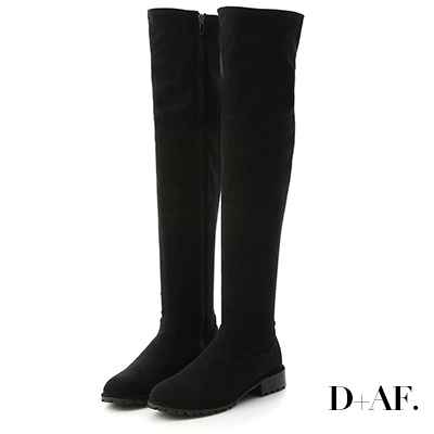 D+AF 微辣焦點.激瘦剪裁美腿膝上長靴*黑絨
