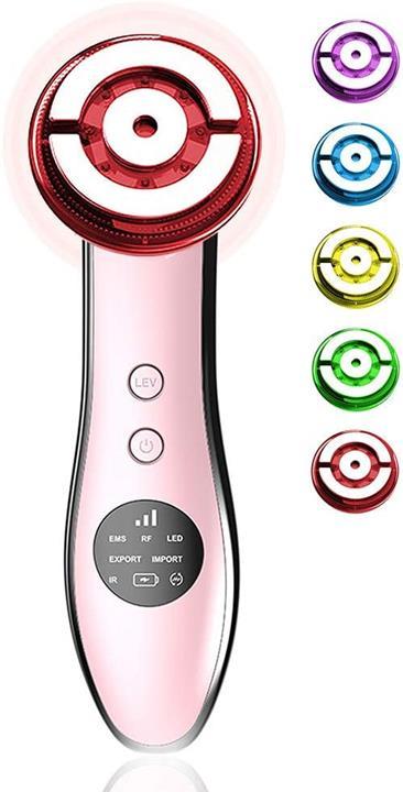 【日本代購】Youmay 美顔器RF 眼部護理 角質去除污垢滲透率無線電波EMS細電流42℃溫暖的臉部按摩 粉色