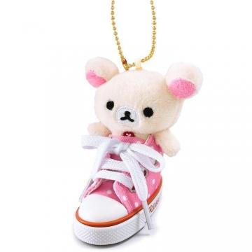 懶懶熊 牛奶熊 鑰匙圈 絨毛吊飾 鎖圈 掛飾 帆布鞋造型 (粉白)