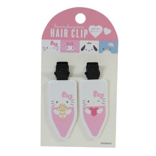 小禮堂 Hello Kitty 日製 五角型鐵髮夾組 小髮夾 瀏海夾 造型髮夾 (2入 粉白)