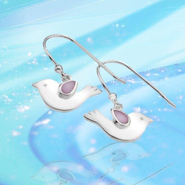 銀淬坊 PurCoeur 925純銀 動物系列簡約自由和平鴿耳環1對
