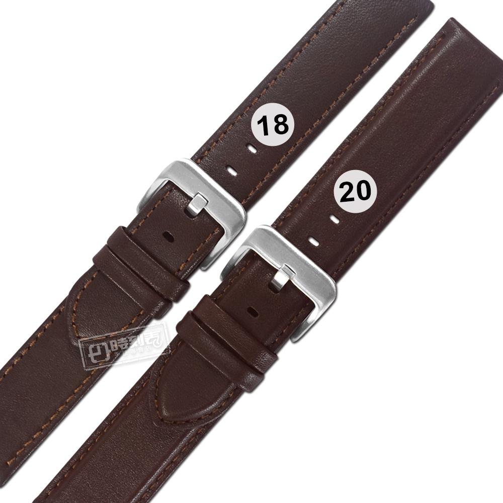 Watchband / 18.20 mm / 各品牌通用 義大利進口 微防水 真皮錶帶 褐色 #213-CO-02