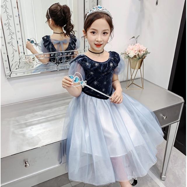 女童新款艾紗蓬蓬裙+皇冠+魔法棒洋裝 中大童洋裝 女童洋裝 女童連衣裙 【蘋果小舖】(AA) 2005 A7