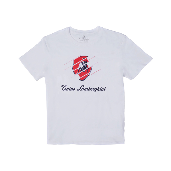 Tonino Lamborghini 藍寶堅尼 Bull 30°棉質T-SHIRT上衣 - 白色 (附贈束口背袋)