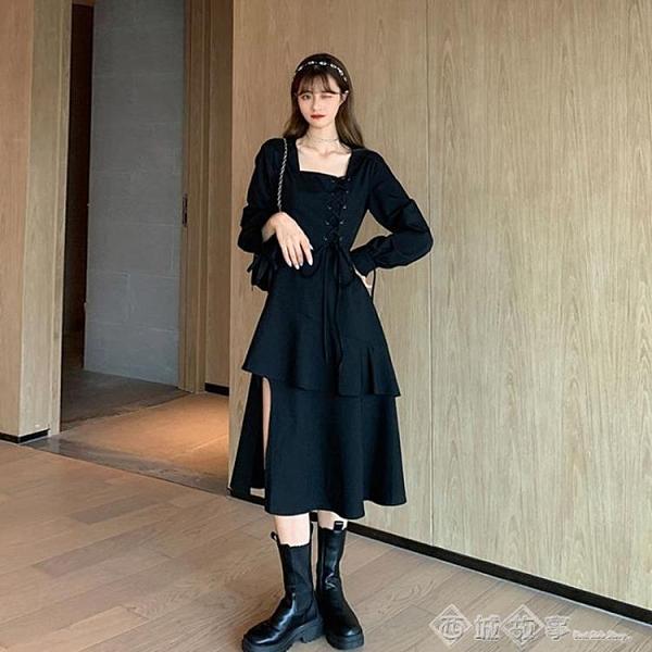 復古方領設計感長袖連衣裙女2020秋裝新款氣質顯瘦裙子黑色A字裙 西城