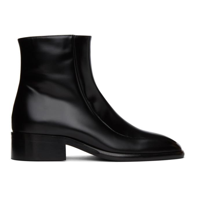 Marni 黑色方头踝靴
