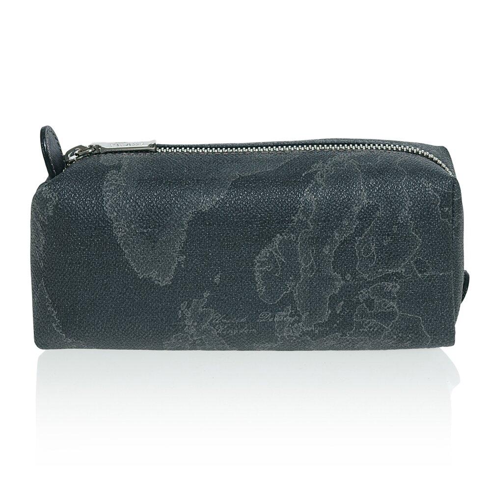 【Alviero Martini 義大利地圖包】拉鍊筆袋化妝包-地圖黑
