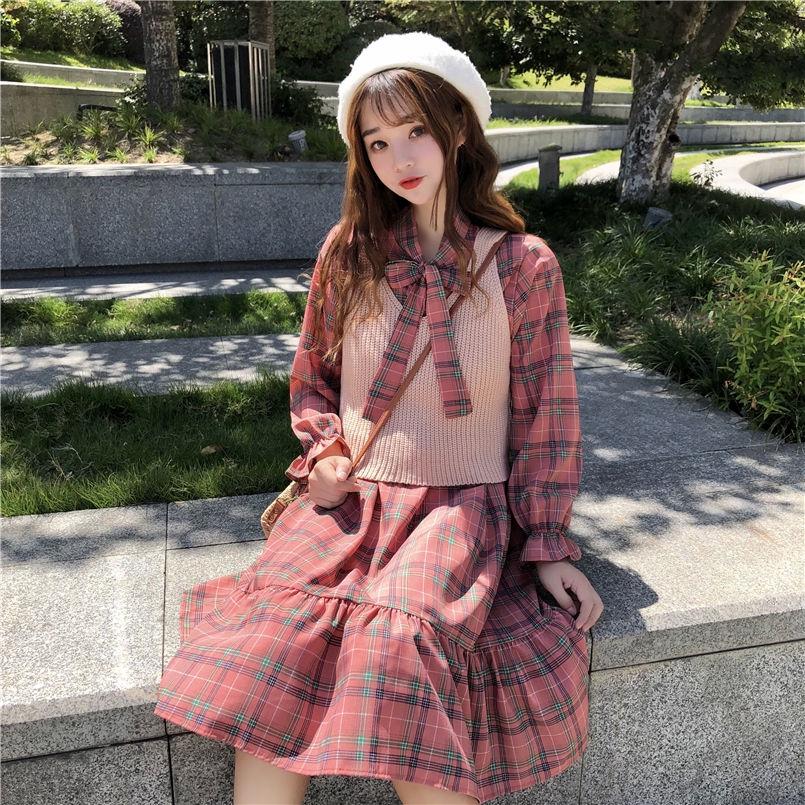 女生洋裝 針織洋裝 洋裝韓版時尚休閑套裝秋季女裝chic小清新格子+針織馬甲兩件式