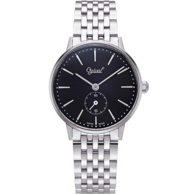 愛其華 Ogival (1930MS) 雅致小秒針石英腕錶/黑 33mm